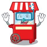 Diving popcorn machine next to cartoon table vector illustration
