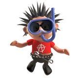 Diving punk rocker underwater wearing a snorkel and divers mask, 3d illustration. Render vector illustration
