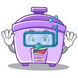 Diving rice cooker character cartoon Stock Photography