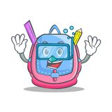 Diving school bag character cartoon. Vector illustration Royalty Free Stock Images