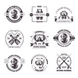 Diving school promo monochrome emblems with equipment set Royalty Free Stock Images