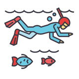 Diving in the sea with fish, scuba diving, snorkeling concept. Line vector icon. Editable stroke. Flat linear illustration isolated on white background Royalty Free Stock Images
