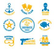 Diving seals set. Diving deep sea adventures scuba divers seal sets set isolated vector illustration Royalty Free Stock Photos