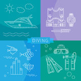 Diving Set of linear icons. Diving. Summer vacation. Leisure at sea. Concept design elements vector set. Icons and symbols in a trendy style linear - boat Stock Photos