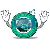 Diving SiaCoin character cartoon style. Vector illustration Royalty Free Stock Photos