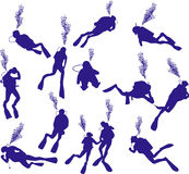 Diving silhouette (vector) Royalty Free Stock Photography