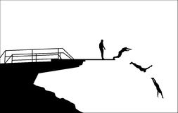 Diving silhouettes. Jump from the board in four steps silhouettes - vector Royalty Free Stock Photo
