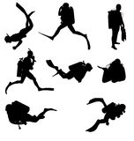 Diving silhouettes set Stock Image