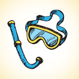 Diving snorkel and goggles. Vector drawing Stock Photos