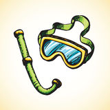 Diving snorkel and goggles. Vector drawing Royalty Free Stock Photography