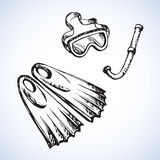 Diving snorkel and goggles. Vector drawing Stock Image