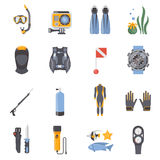 Diving And Snorkeling Flat Decorative Icons Stock Images