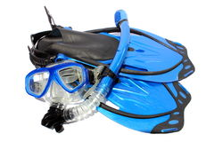 Diving and Snorkeling Gear. Isolated black and blue fins, mask, and snorkel used for snorkeling and diving Stock Image