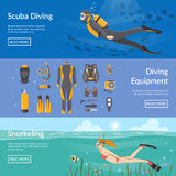 Diving And Snorkeling Horizontal Banners. Diving and snorkeling advertising horizontal banners with diving equipment presentation and people figures with Stock Photo