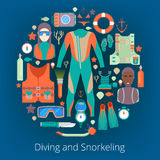 Diving and Snorkeling Icons Set with Scuba Equipment Stock Image