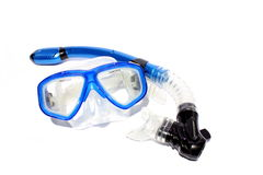 Diving and Snorkeling Mask. Isolated blue snorkel and mask used for snorkeling and scuba Royalty Free Stock Photo