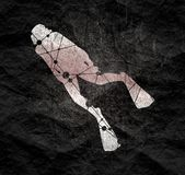 Diving sport concept. Silhouette of diver. Icon diver. The concept of sport diving. Textured by connected lines with dots royalty free stock images