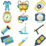 Diving sport flat color icons Royalty Free Stock Image
