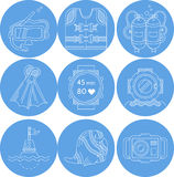 Diving sport icons collection Stock Photos