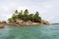 Diving spot at tropical island St. Pierre, Seychelles Royalty Free Stock Images