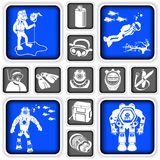 Diving squared icons Stock Image