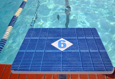 Diving starter block. Position number 6 royalty free stock photo