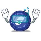 Diving Status coin character cartoon. Vector illustration Royalty Free Stock Photos