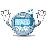 Diving Stratic coin character cartoon. Vector illustration Stock Photography