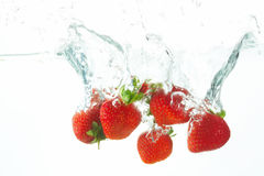Diving strawberries. Five fresh strawberries falling into the water Stock Photos