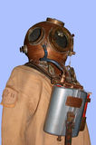 Diving suit. Old diving suit and helmet isolated Royalty Free Stock Photos