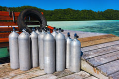 Diving tanks Royalty Free Stock Photos