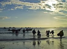 Diving in Thailand. Divers returning from a trip near Krabi, Thailand Royalty Free Stock Photos