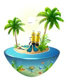 Diving in tropical sea off paradise island. Beach vacation, palm tree, diving mask, oxygen tank, fin, underwater world. Isolated on white vector cartoon Royalty Free Stock Photos