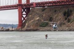 Diving under the Golden Gate Bridge Stock Photo