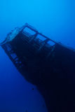 Diving Under Water. Adventure Diving on a sunken Ship wreck stock photos