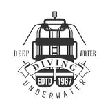 Diving underwater deep water edtd 1967 logo. Black and white vector Illustration. For diver school or club emblem, elements for badge, print, tattoo, label Stock Photo
