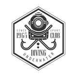 Diving underwater sport club since 1965 vintage logo. Black and white vector Illustration. For diver school or club emblem, elements for badge, print, tattoo Stock Photos