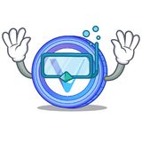 Diving VeChain coin character cartoon. Vector illustration Royalty Free Stock Photo