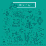 DIVING vector design concept. Diving design concept. Set-lifetime underwater divers, fish, seaweed, diving equipment. Flat icons in branding linear style. Vector Stock Photo