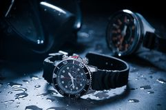Diving watch with old depth gauge Royalty Free Stock Photo
