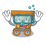 Diving wooden trolley character cartoon. Vector illustration royalty free illustration
