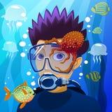 Diving young man Stock Photos