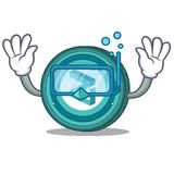 Diving Zilliqa coin character cartoon. Vector illustration Stock Images