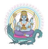 Divinidad india del hinduism del vector de dios de la diosa y del ?dolo divino Ganesha en sistema del ejemplo de la India de la r stock de ilustración