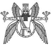 Divinità alata Assyrian antico Carattere di mitologia sumerica Fotografia Stock
