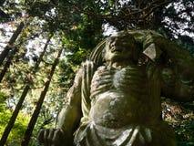Divinité bouddhiste en pierre de gardien sur la péninsule de Kunisaki, Japon Image libre de droits