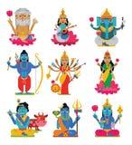 Divinité indoue de vecteur indien d'un dieu de caractère de déesse et idole divin Ganesha d'hindouisme dans l'ensemble d'illustra illustration libre de droits
