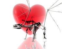 divisão do dragão 3d um fundo vermelho do coração 3d ilustração royalty free