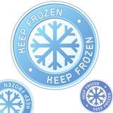 Divisa de la escritura de la etiqueta del acondicionamiento de los alimentos congelados del mantiene Imagenes de archivo