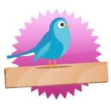 Divisa del gorjeo con el pájaro y la muestra azules Imágenes de archivo libres de regalías